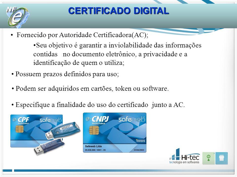 Especifique a finalidade do uso do certificado junto a AC.