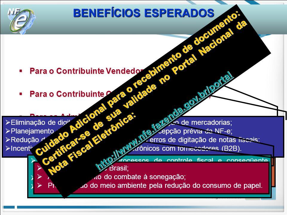 BENEFÍCIOS ESPERADOS Para o Contribuinte Vendedor (Emissor NF-e) Para o Contribuinte Comprador (Receptor NF-e) Para as Administrações Tributárias Para a Sociedade Brasileira Redução de custos de impressão; Redução de custos de aquisição de papel; Redução de custos de armazenagem de documentos fiscais; Simplificação de obrigações acessórias (dispensa de AIDF); Redução de tempo de parada em Postos Fiscais de Fronteira; Incentivo a uso de relacionamentos eletrônicos com clientes (B2B); Domínio de tecnologia certificação digital e web service.