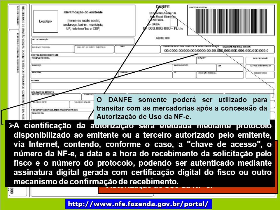 http://www.nfe.fazenda.gov.br/portal/ O arquivo digital da NF-e só poderá ser utilizado como documento fiscal após: I - ser transmitido eletronicamente ao fisco.