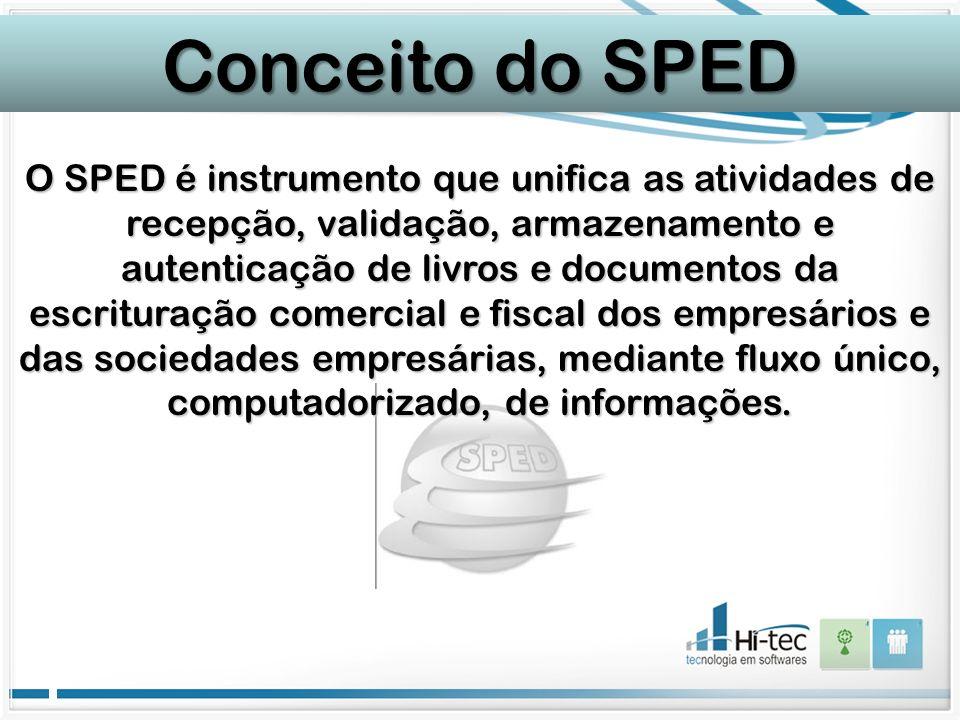O SPED é instrumento que unifica as atividades de recepção, validação, armazenamento e autenticação de livros e documentos da escrituração comercial e fiscal dos empresários e das sociedades empresárias, mediante fluxo único, computadorizado, de informações.