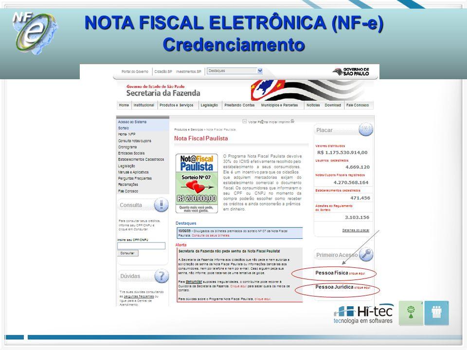 NOTA FISCAL ELETRÔNICA (NF-e) Credenciamento