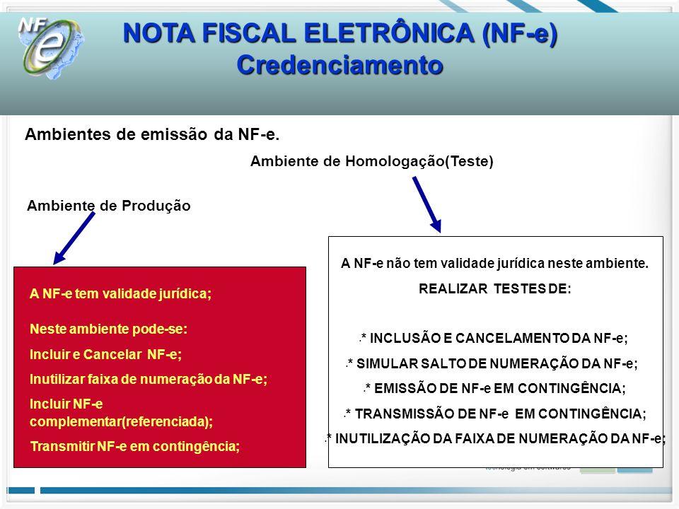 Credenciamento Ambientes de emissão da NF-e. Ambiente de Homologação(Teste) Ambiente de Produção A NF-e não tem validade jurídica neste ambiente. REAL