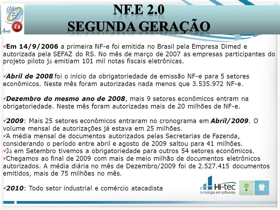Em 14/9/2006 a primeira NF-e foi emitida no Brasil pela Empresa Dimed e autorizada pela SEFAZ do RS. No mês de março de 2007 as empresas participantes
