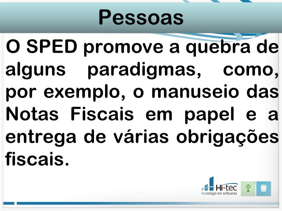 Pessoas O SPED promove a quebra de alguns paradigmas, como, por exemplo, o manuseio das Notas Fiscais em papel e a entrega de várias obrigações fiscai