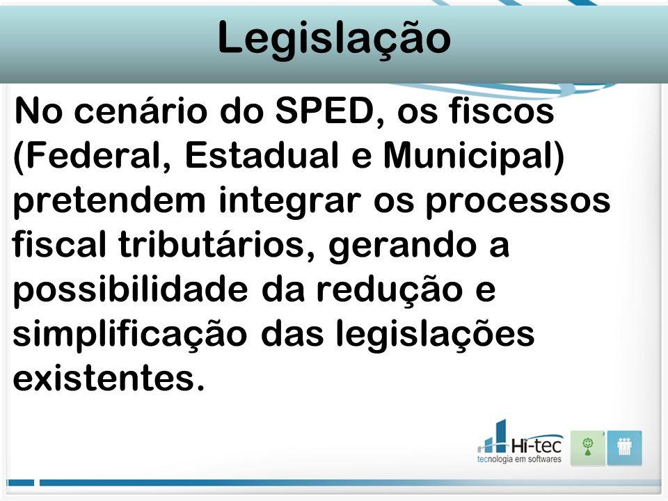 Legislação No cenário do SPED, os fiscos (Federal, Estadual e Municipal) pretendem integrar os processos fiscal tributários, gerando a possibilidade d