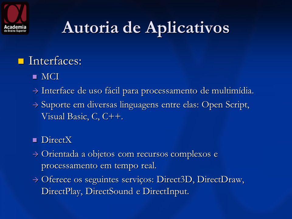 Autoria de Aplicativos Interfaces: Interfaces: MCI MCI Interface de uso fácil para processamento de multimídia. Interface de uso fácil para processame