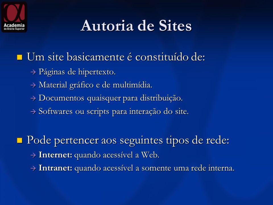 Autoria de Sites Um site basicamente é constituído de: Um site basicamente é constituído de: Páginas de hipertexto. Páginas de hipertexto. Material gr