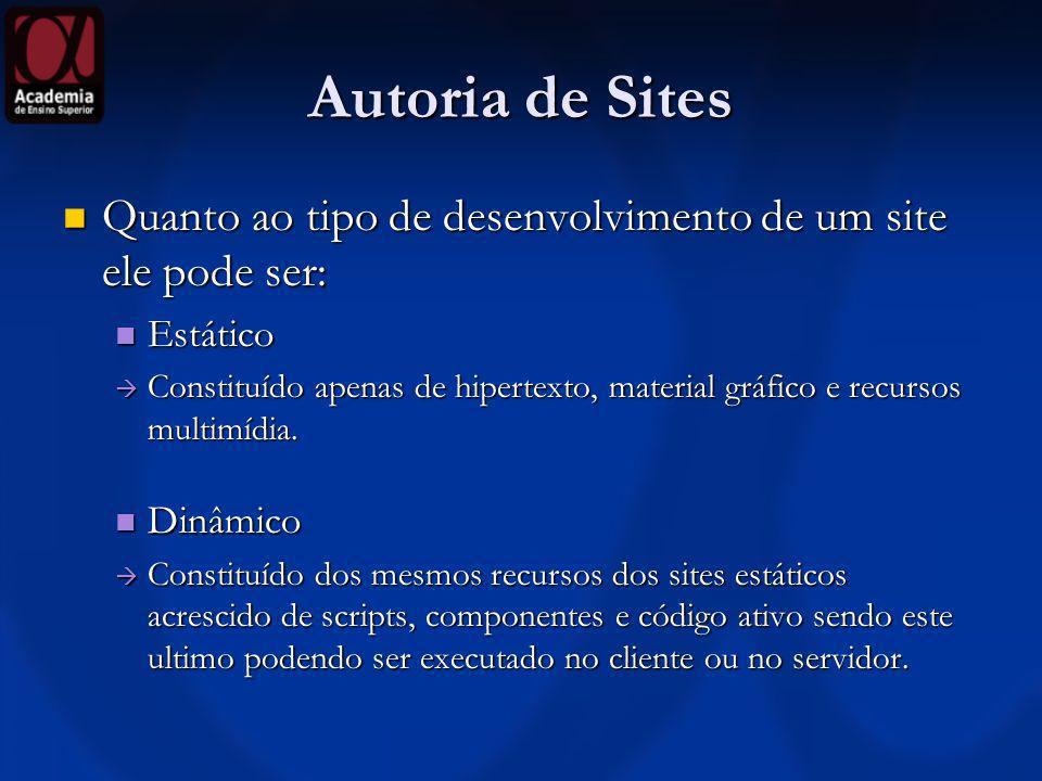Autoria de Sites Quanto ao tipo de desenvolvimento de um site ele pode ser: Quanto ao tipo de desenvolvimento de um site ele pode ser: Estático Estáti