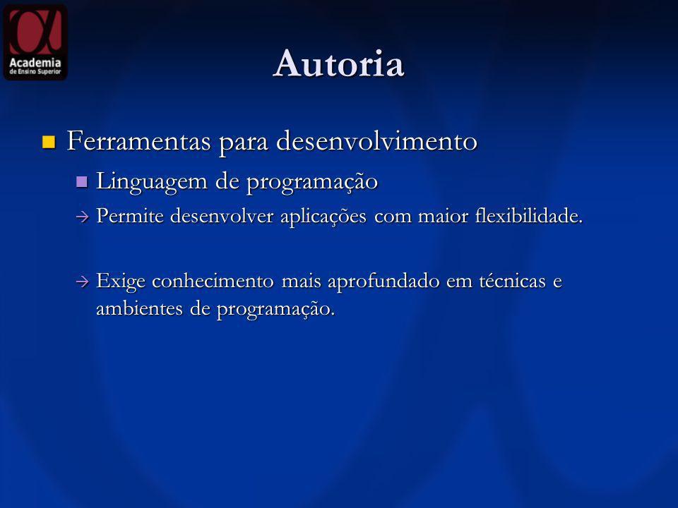 Autoria Ferramentas para desenvolvimento Ferramentas para desenvolvimento Linguagem de programação Linguagem de programação Permite desenvolver aplica