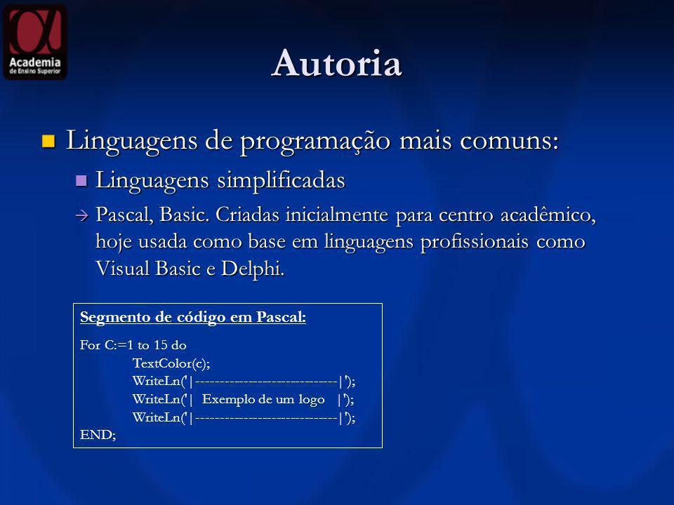 Autoria Linguagens de programação mais comuns: Linguagens de programação mais comuns: Programação estruturada Programação estruturada Linguagem C.