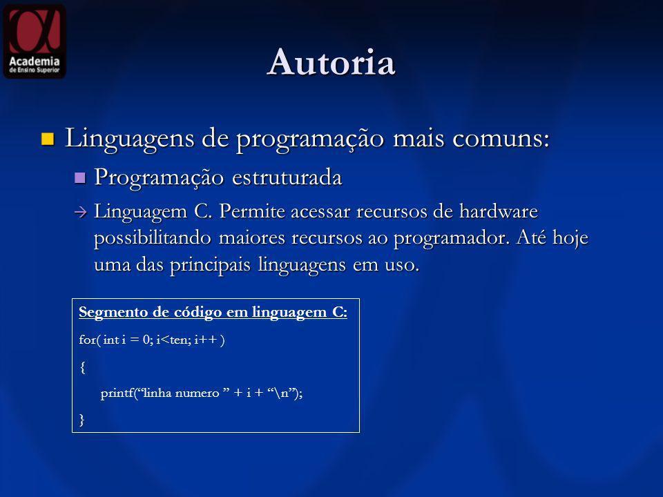 Autoria Linguagens de programação mais comuns: Linguagens de programação mais comuns: Orientada a objetos Orientada a objetos Linguagem C++, C#.