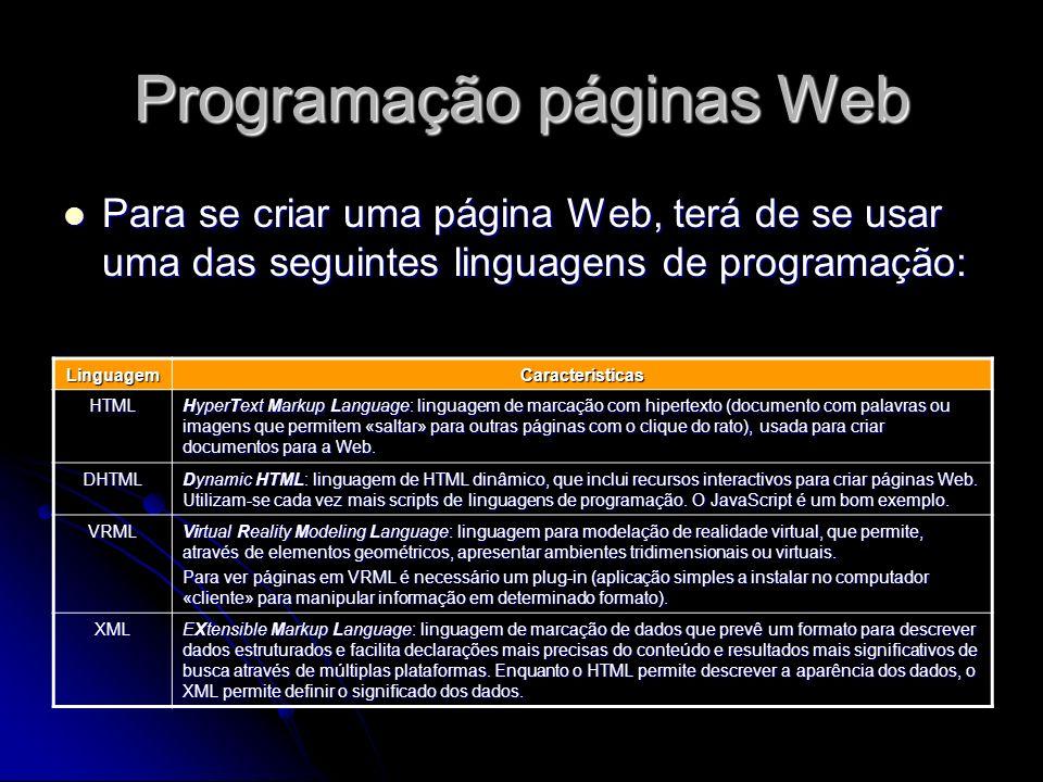 Programação páginas Web Para se criar uma página Web, terá de se usar uma das seguintes linguagens de programação: Para se criar uma página Web, terá