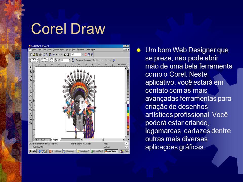 Corel Draw Um bom Web Designer que se preze, não pode abrir mão de uma bela ferramenta como o Corel. Neste aplicativo, você estará em contato com as m