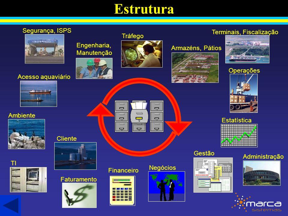Estrutura Acesso aquaviário Ambiente Cliente Tráfego Faturamento Armazéns, Pátios Negócios Operações Financeiro Administração Estatística Engenharia, Manutenção TI Segurança, ISPS Gestão Terminais, Fiscalização