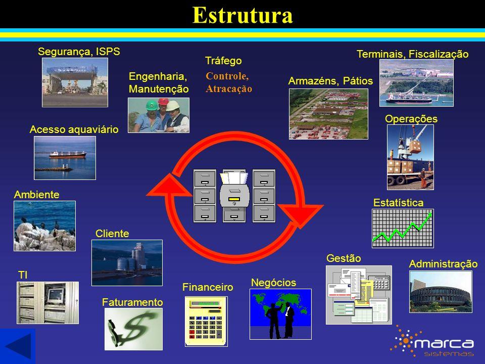 Estrutura Acesso aquaviário Ambiente Cliente Tráfego Faturamento Armazéns, Pátios Negócios Operações Financeiro Administração Estatística Engenharia, Manutenção TI Segurança, ISPS Gestão Terminais, Fiscalização Controle, Atracação