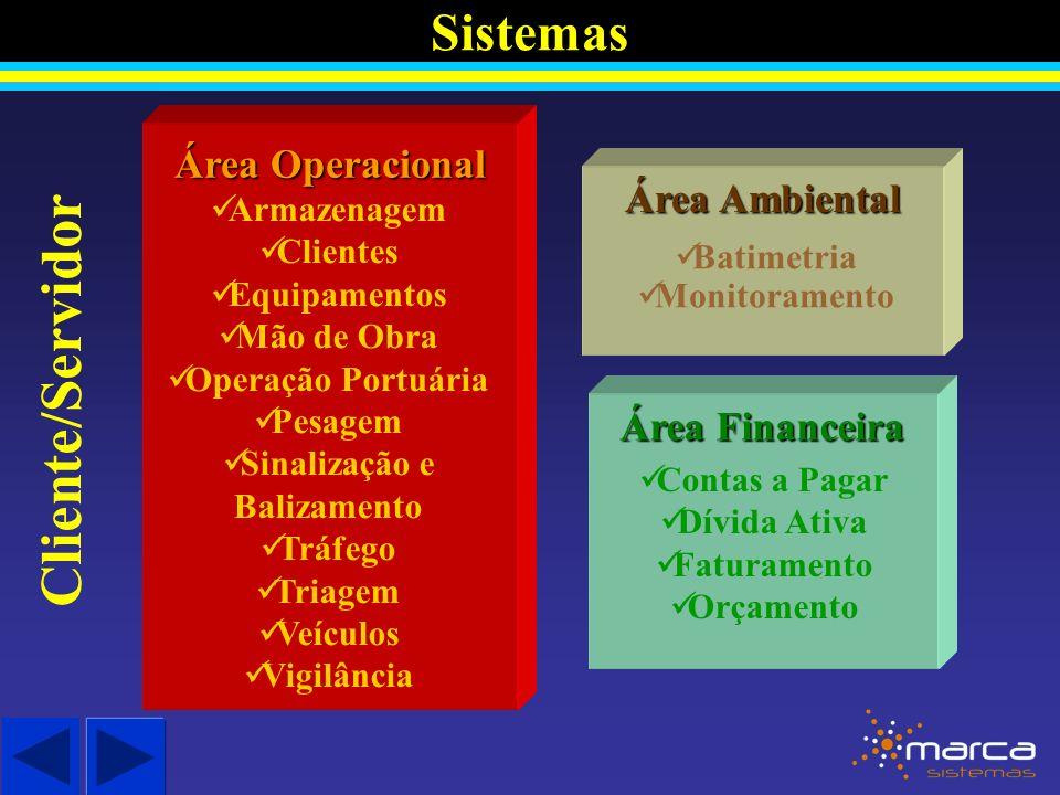 Sistemas Área Operacional Cliente/Servidor Armazenagem Clientes Equipamentos Mão de Obra Operação Portuária Pesagem Sinalização e Balizamento Tráfego Triagem Veículos Vigilância Área Financeira Contas a Pagar Dívida Ativa Faturamento Orçamento Área Ambiental Batimetria Monitoramento