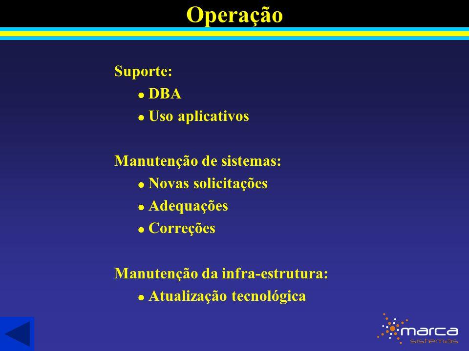 Suporte: l DBA l Uso aplicativos Manutenção de sistemas: l Novas solicitações l Adequações l Correções Manutenção da infra-estrutura: l Atualização tecnológica Operação
