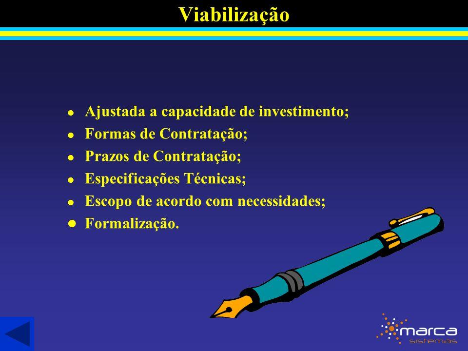 Viabilização l Ajustada a capacidade de investimento; l Formas de Contratação; l Prazos de Contratação; l Especificações Técnicas; l Escopo de acordo com necessidades; l Formalização.