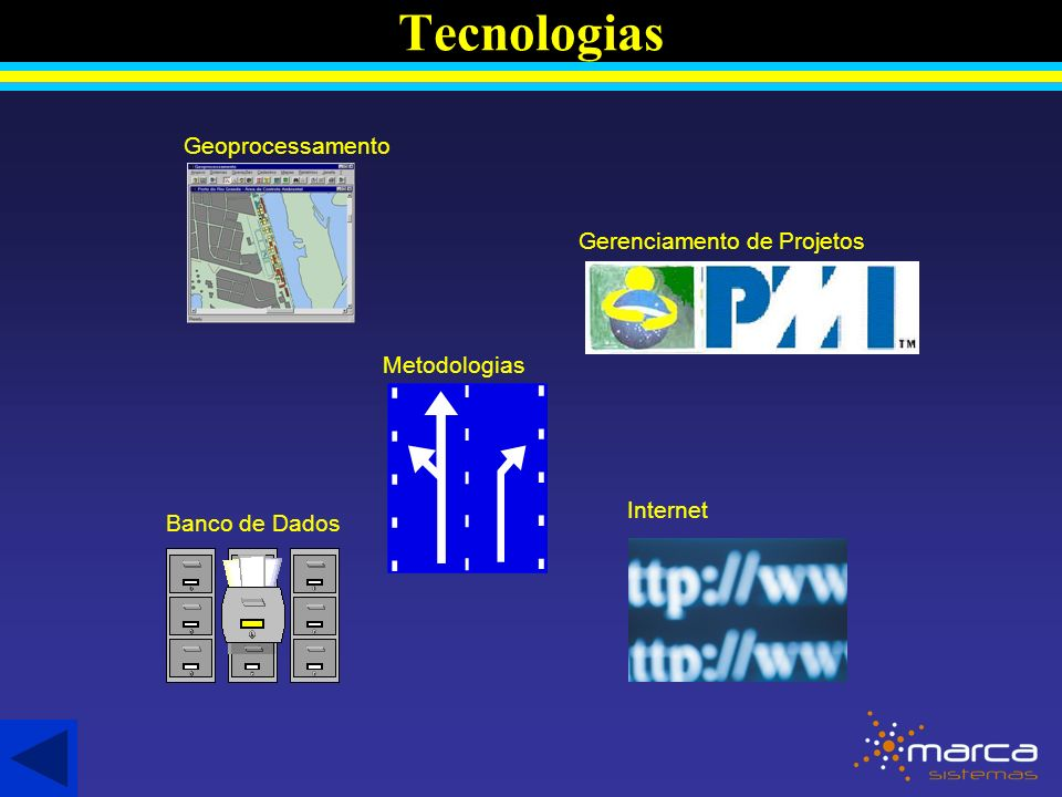 Tecnologias Gerenciamento de Projetos Geoprocessamento Internet Banco de Dados Metodologias