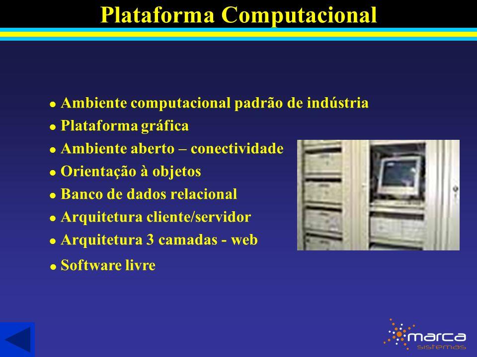 l Ambiente computacional padrão de indústria l Plataforma gráfica l Ambiente aberto – conectividade l Orientação à objetos l Banco de dados relacional l Arquitetura cliente/servidor l Arquitetura 3 camadas - web Plataforma Computacional l Software livre Software livre