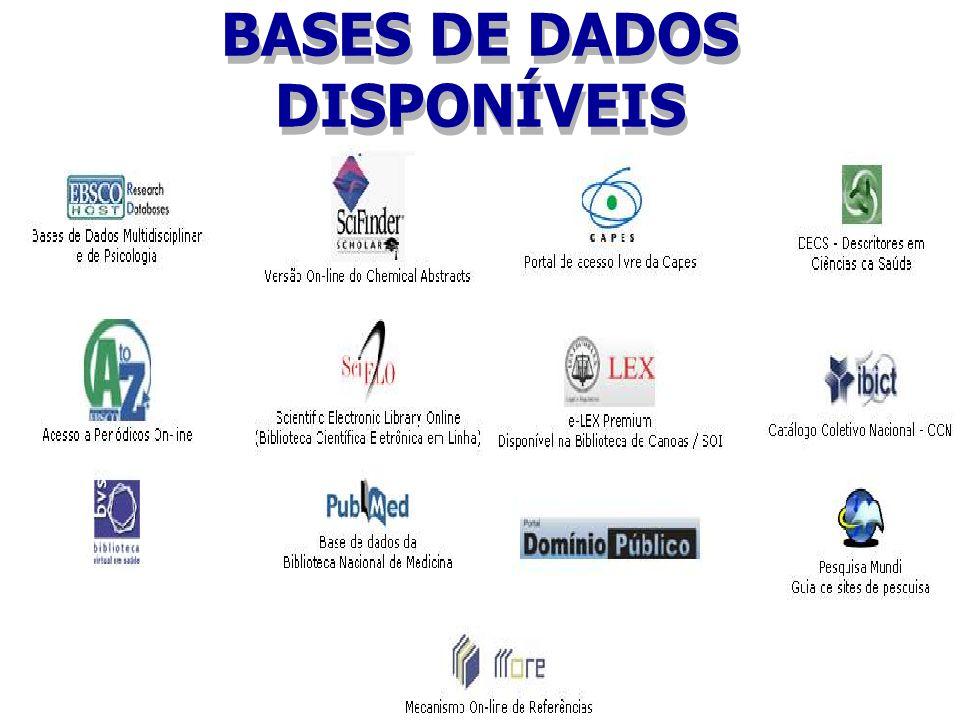 BASES DE DADOS DISPONÍVEIS Para acessar as bases de dados disponíveis entre no site: http://www.ulbra.br/bibliotecas/recursos-online.htm