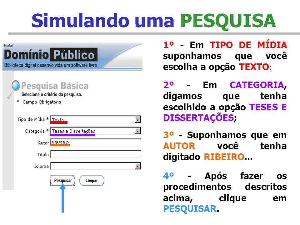 Utilizando a PESQUISA BÁSICA 1º - Em TIPO DE MÍDIA escolha uma opção; 2º - Abaixo escolha uma CATEGORIA; 3º - Se desejar, escolha também um AUTOR; 4º