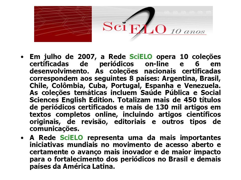Em julho de 2007, a Rede SciELO opera 10 coleções certificadas de periódicos on-line e 6 em desenvolvimento. As coleções nacionais certificadas corres