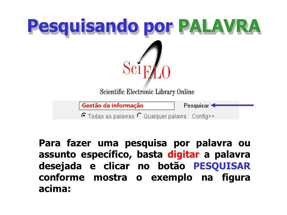 Pesquisando por PALAVRA Para fazer uma pesquisa por palavra ou assunto específico, basta digitar a palavra desejada e clicar no botão PESQUISAR confor