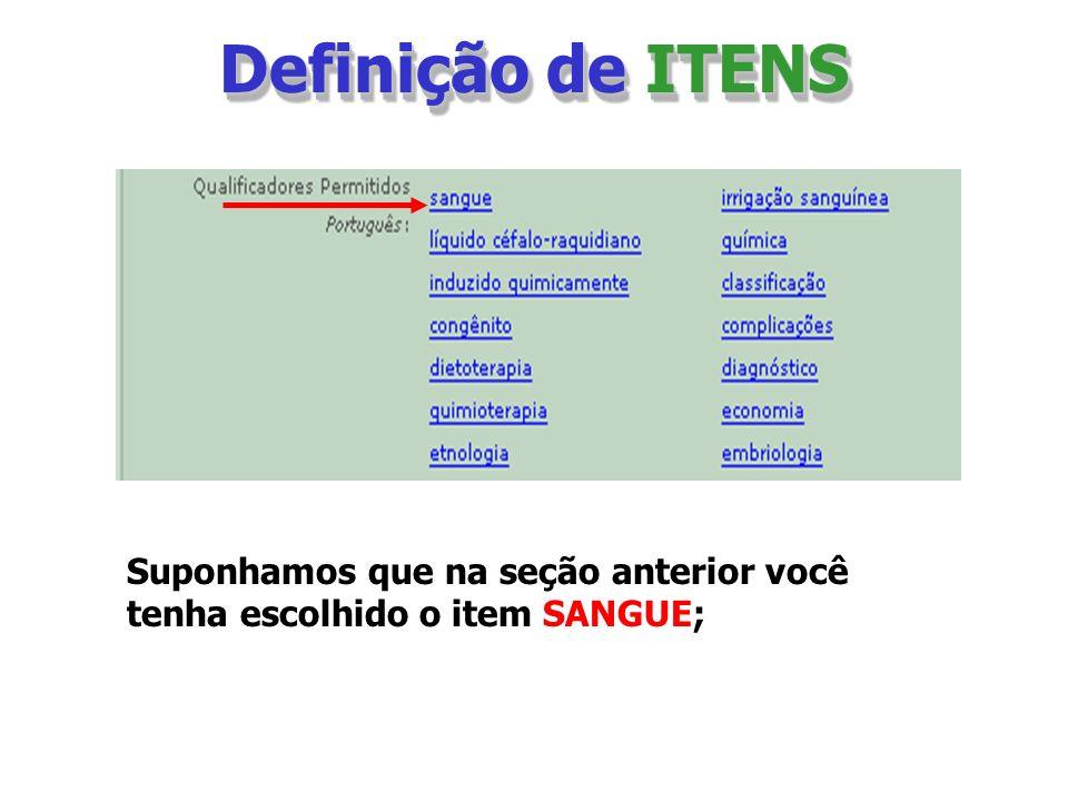 Definição de ITENS Suponhamos que na seção anterior você tenha escolhido o item SANGUE;