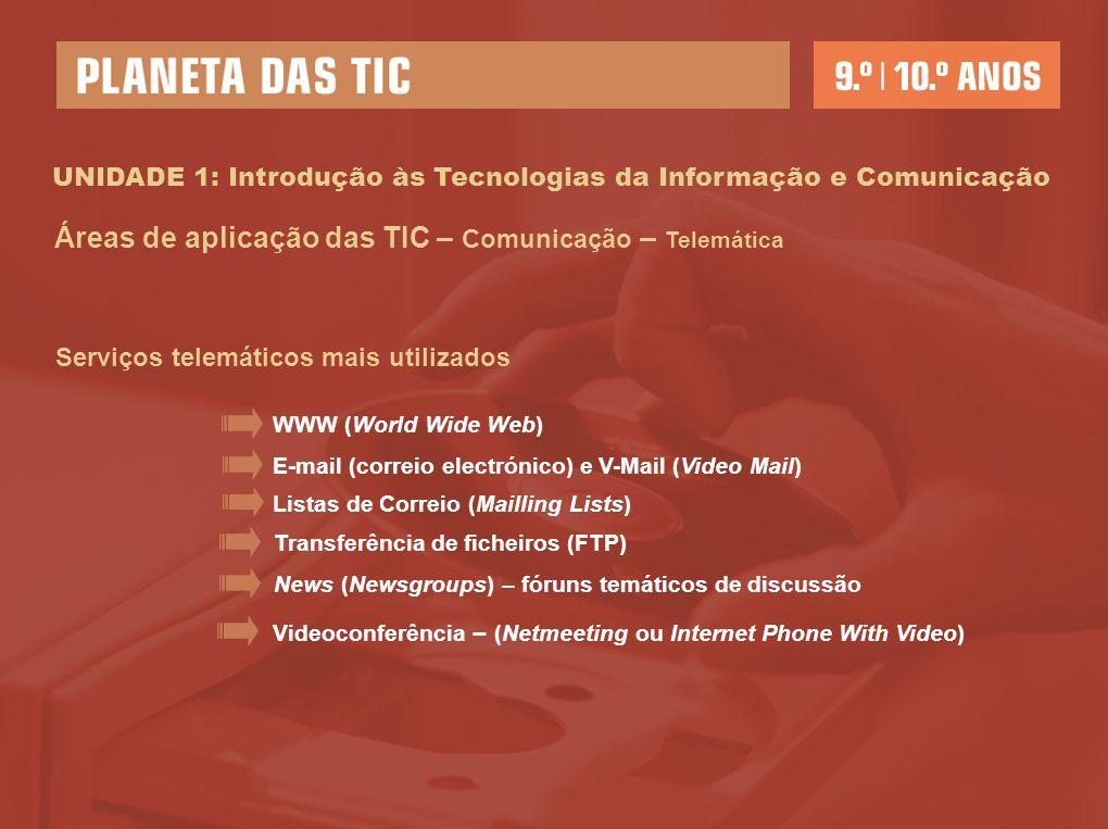 UNIDADE 1: Introdução às Tecnologias da Informação e Comunicação Áreas de aplicação das TIC – Comunicação – Telemática Serviços telemáticos mais utilizados WWW (World Wide Web) E-mail (correio electrónico) e V-Mail (Video Mail) Listas de Correio (Mailling Lists) Transferência de ficheiros (FTP) News (Newsgroups) – fóruns temáticos de discussão Videoconferência – (Netmeeting ou Internet Phone With Video)
