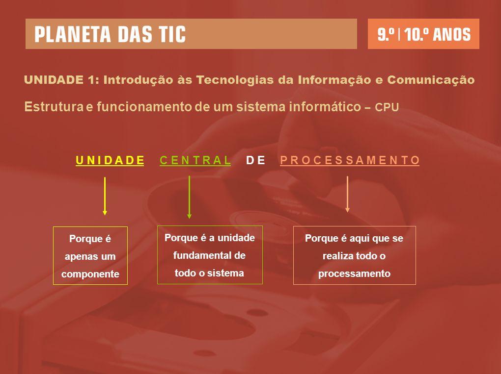 UNIDADE 1: Introdução às Tecnologias da Informação e Comunicação Estrutura e funcionamento de um sistema informático – CPU U N I D A D E C E N T R A L D E P R O C E S S A M E N T O Porque é apenas um componente Porque é a unidade fundamental de todo o sistema Porque é aqui que se realiza todo o processamento