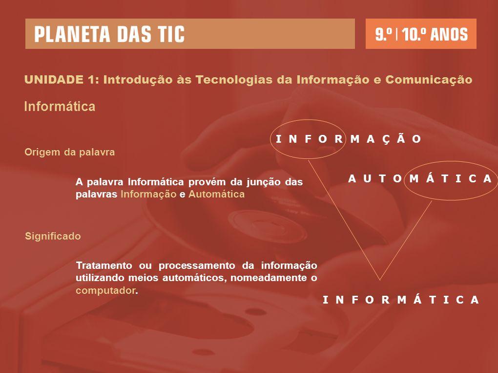 UNIDADE 1: Introdução às Tecnologias da Informação e Comunicação Tecnologias da Informação (TI) Tecnologias Informação Origem da palavra Provém das palavras gregas techné, que significa saber fazer, e logia, que significa conhecimento organizado.