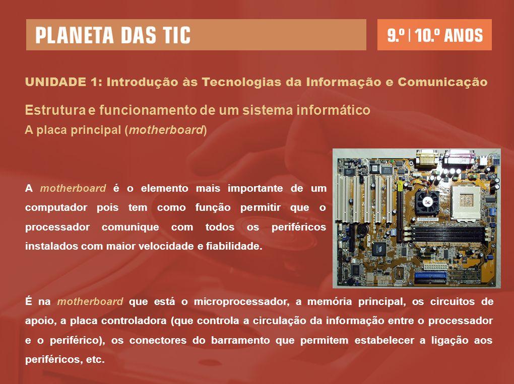 UNIDADE 1: Introdução às Tecnologias da Informação e Comunicação Estrutura e funcionamento de um sistema informático A placa principal (motherboard) A motherboard é o elemento mais importante de um computador pois tem como função permitir que o processador comunique com todos os periféricos instalados com maior velocidade e fiabilidade.