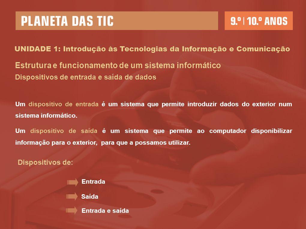 UNIDADE 1: Introdução às Tecnologias da Informação e Comunicação Estrutura e funcionamento de um sistema informático Dispositivos de entrada e saída de dados Um dispositivo de entrada é um sistema que permite introduzir dados do exterior num sistema informático.