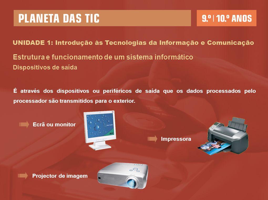 UNIDADE 1: Introdução às Tecnologias da Informação e Comunicação Estrutura e funcionamento de um sistema informático Dispositivos de saída É através dos dispositivos ou periféricos de saída que os dados processados pelo processador são transmitidos para o exterior.