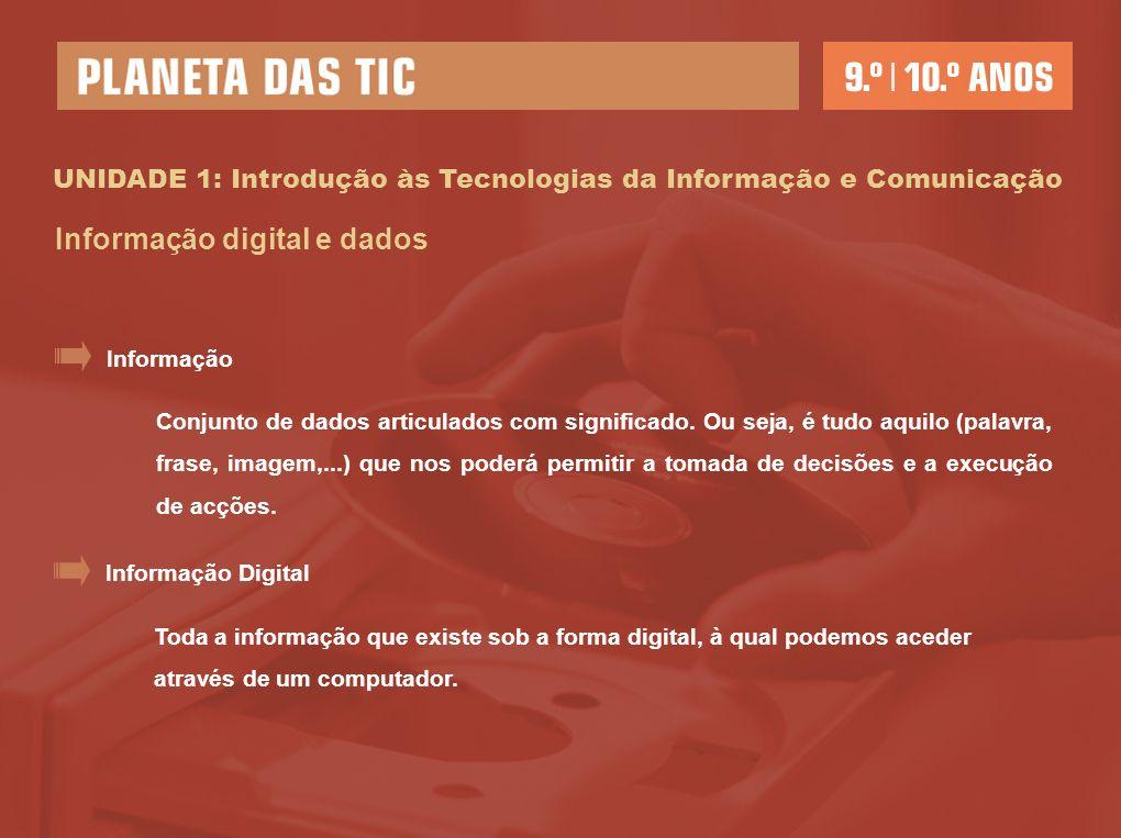 UNIDADE 1: Introdução às Tecnologias da Informação e Comunicação Informação digital e dados Conjunto de dados articulados com significado.