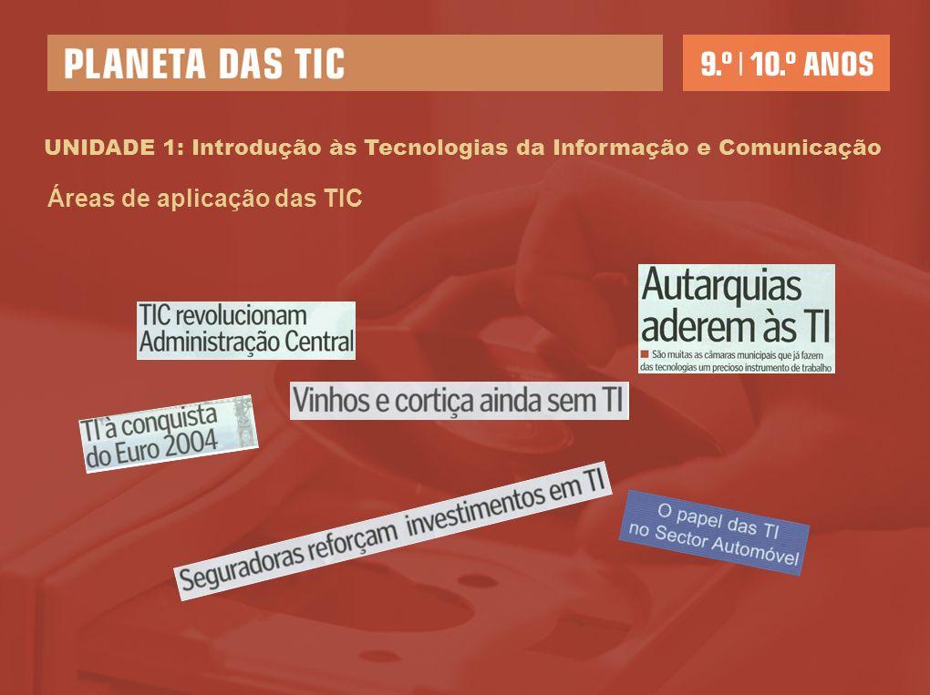 UNIDADE 1: Introdução às Tecnologias da Informação e Comunicação Áreas de aplicação das TIC