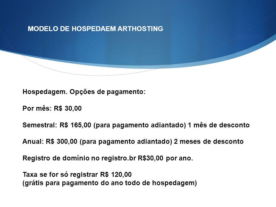 MODELO DE HOSPEDAEM ARTHOSTING Hospedagem.