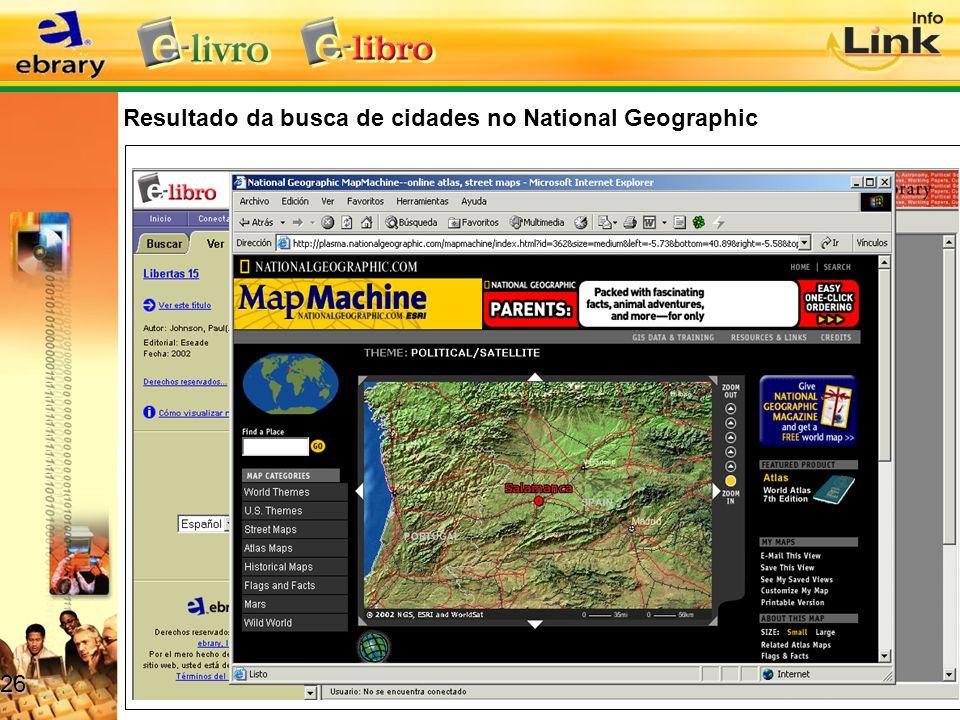 Resultado da busca de cidades no National Geographic 26