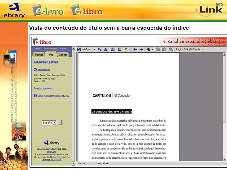 Vista do conteúdo do título sem a barra esquerda do índice 29