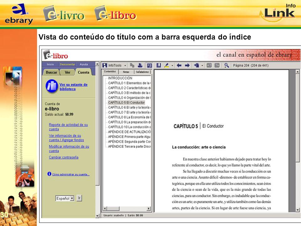 Vista do conteúdo do título com a barra esquerda do índice 30