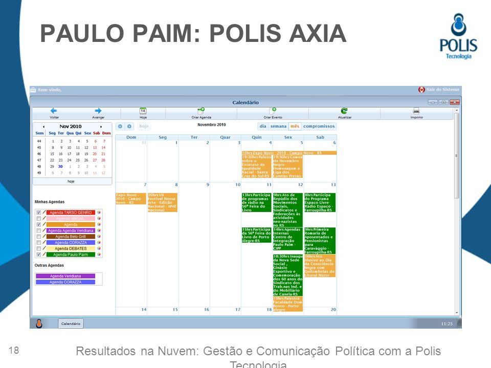 PAULO PAIM: POLIS AXIA 18 Resultados na Nuvem: Gestão e Comunicação Política com a Polis Tecnologia