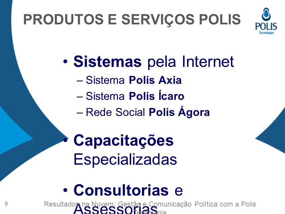 Sistemas pela Internet –Sistema Polis Axia –Sistema Polis Ícaro –Rede Social Polis Ágora Capacitações Especializadas Consultorias e Assessorias PRODUTOS E SERVIÇOS POLIS 9 Resultados na Nuvem: Gestão e Comunicação Política com a Polis Tecnologia