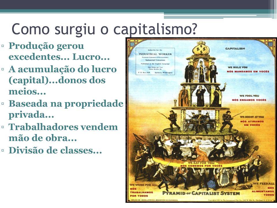 Como surgiu o capitalismo? Produção gerou excedentes... Lucro... A acumulação do lucro (capital)...donos dos meios... Baseada na propriedade privada..