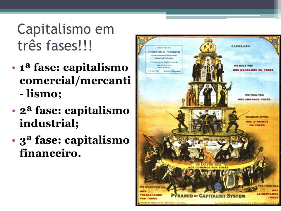 Capitalismo em três fases!!! 1ª fase: capitalismo comercial/mercanti - lismo; 2ª fase: capitalismo industrial; 3ª fase: capitalismo financeiro.