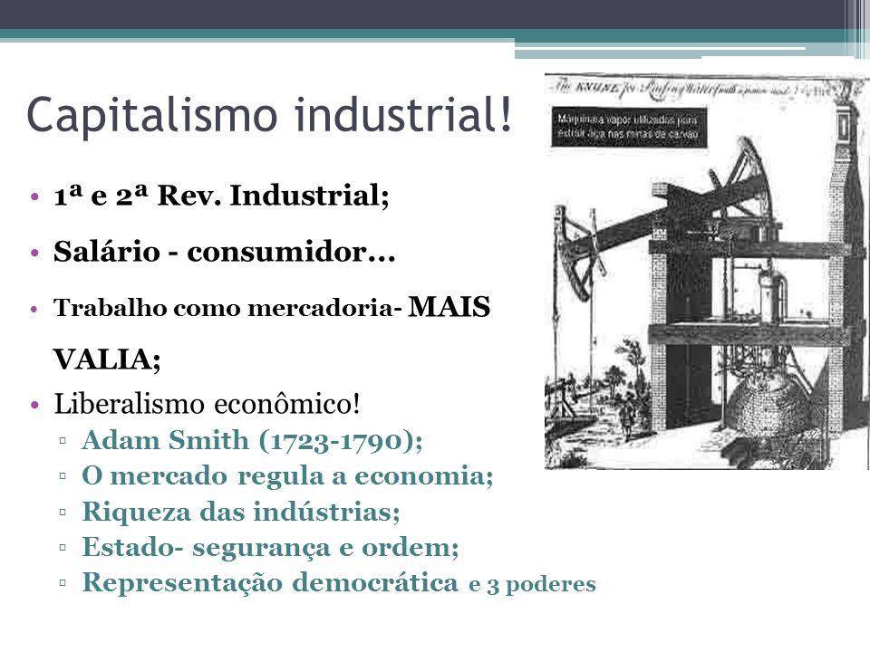 Capitalismo industrial! 1ª e 2ª Rev. Industrial; Salário - consumidor... Trabalho como mercadoria- MAIS VALIA; Liberalismo econômico! Adam Smith (1723