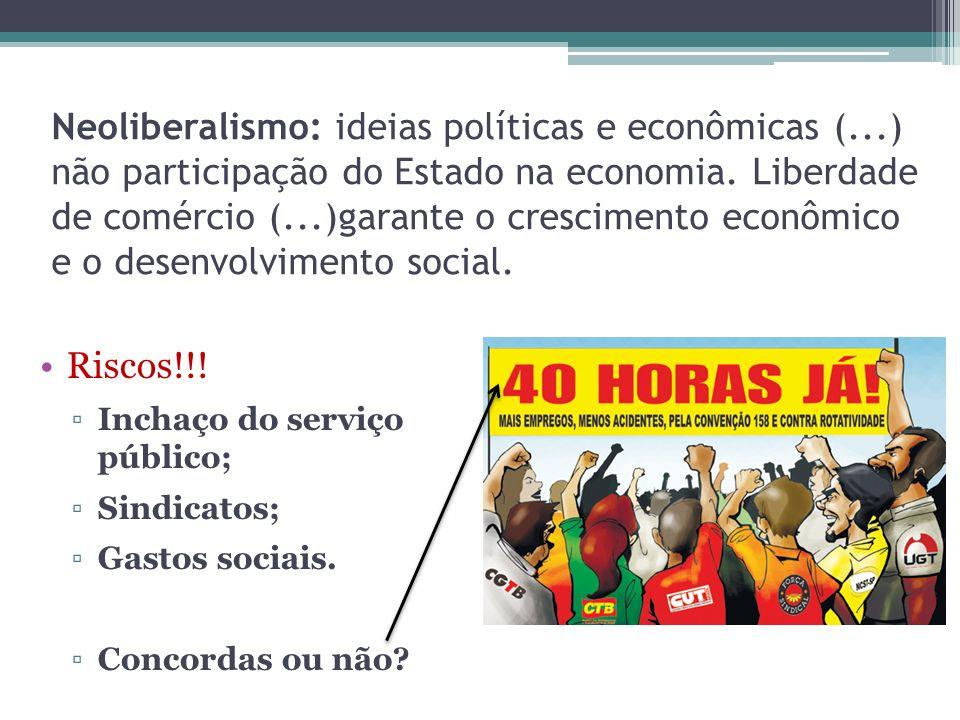 Neoliberalismo: ideias políticas e econômicas (...) não participação do Estado na economia. Liberdade de comércio (...)garante o crescimento econômico