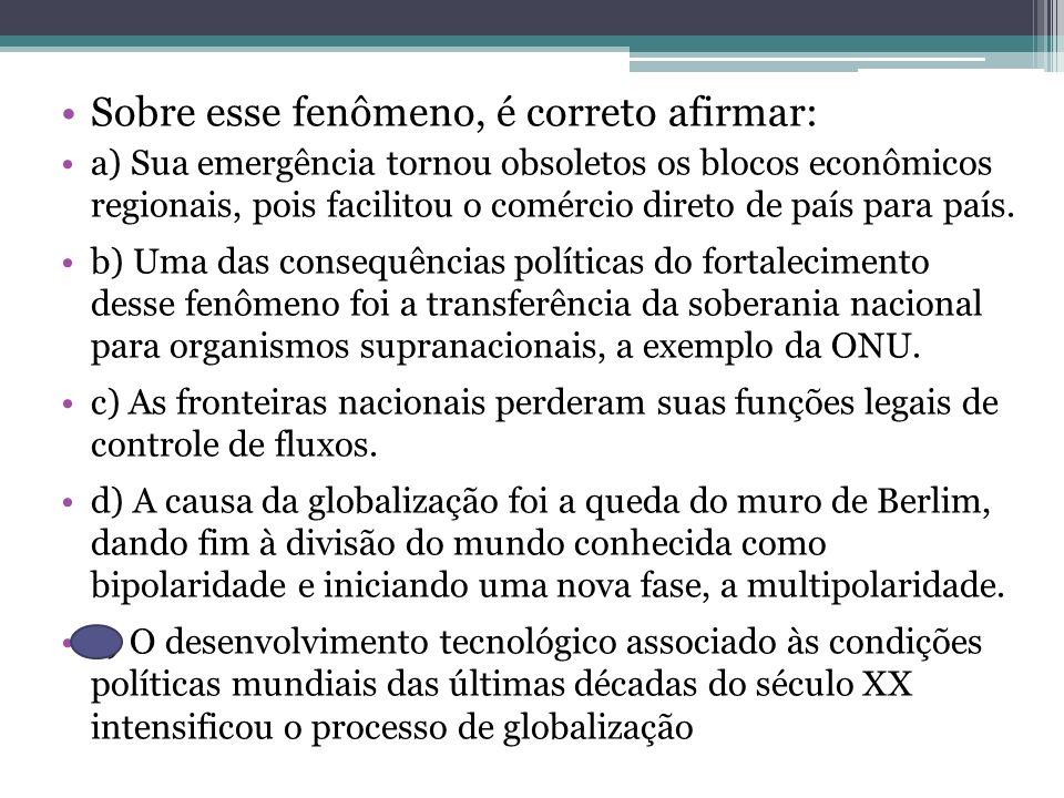 Sobre esse fenômeno, é correto afirmar: a) Sua emergência tornou obsoletos os blocos econômicos regionais, pois facilitou o comércio direto de país pa