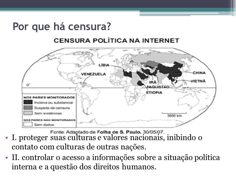 Por que há censura? I. proteger suas culturas e valores nacionais, inibindo o contato com culturas de outras nações. II. controlar o acesso a informaç