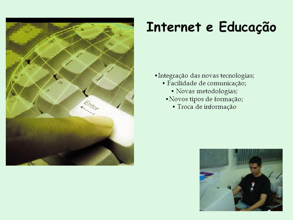 Internet e Educação Integração das novas tecnologias; Facilidade de comunicação; Novas metodologias; Novos tipos de formação; Troca de informação